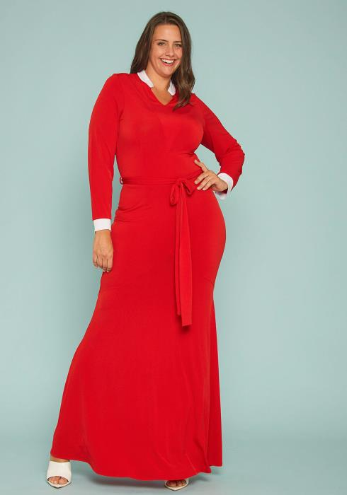 Asoph Plus Size Contrast Collared Gown