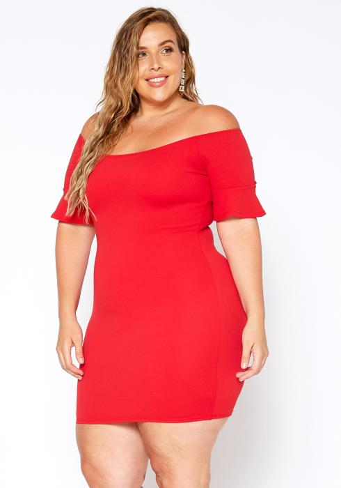 Asoph Plus Size Off Shoulder Romantic Bodycon Dress