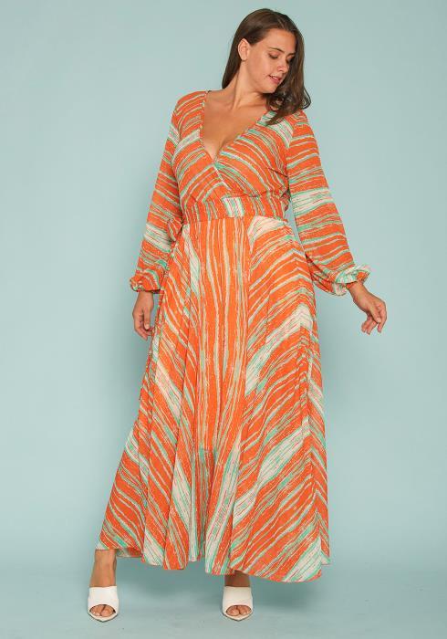 Asoph Plus Size Watercolor Chiffon Maxi Dress