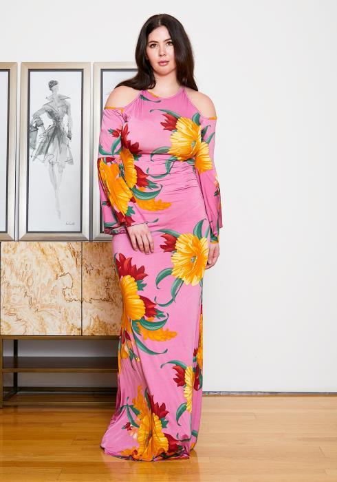 Asoph Plus Size Floral Cold Shoulder Maxi Dress