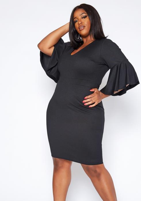 Asoph Plus Size Bell Sleeve Bodycon Mini Dress