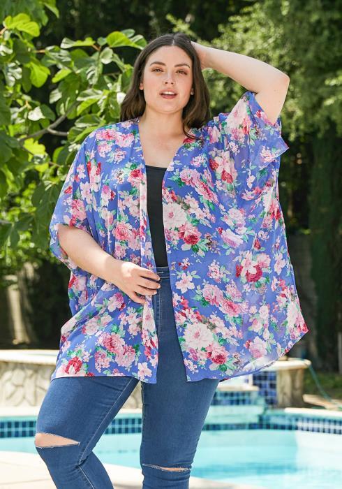 Asoph Plus Size Floral Chiffon Cardigan
