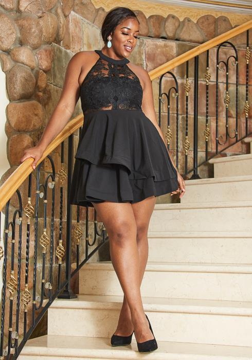 Asoph Plus Size Lace Halter Party Dress