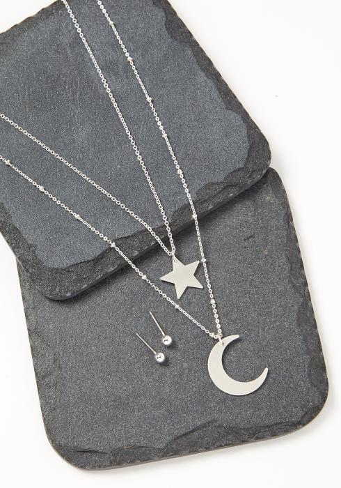 Layered Moon & Star Necklace Earrings Set