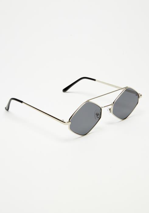 Metal Hexagon Tinted Sunglasses
