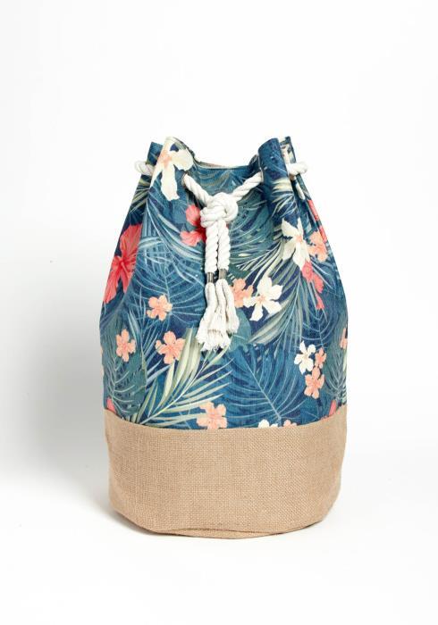 Oahu Tropical Print Drawstring Backpack
