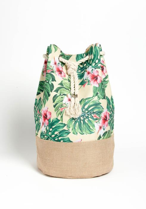 Honolulu Tropical Beach Print Drawstring Backpack
