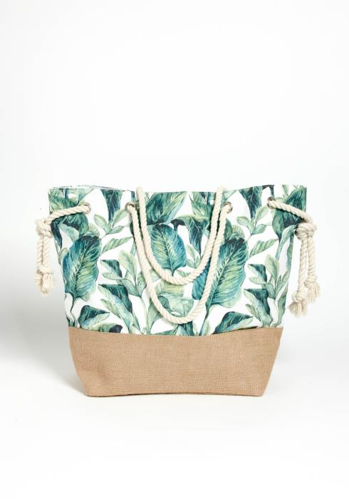Island Getaway Print Drawstring Tote Bag