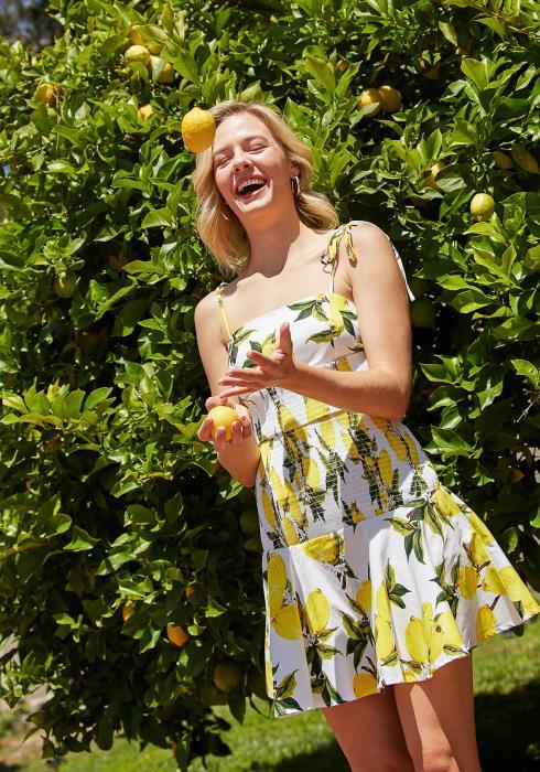 Tansy Lemon Print Smocked Dress
