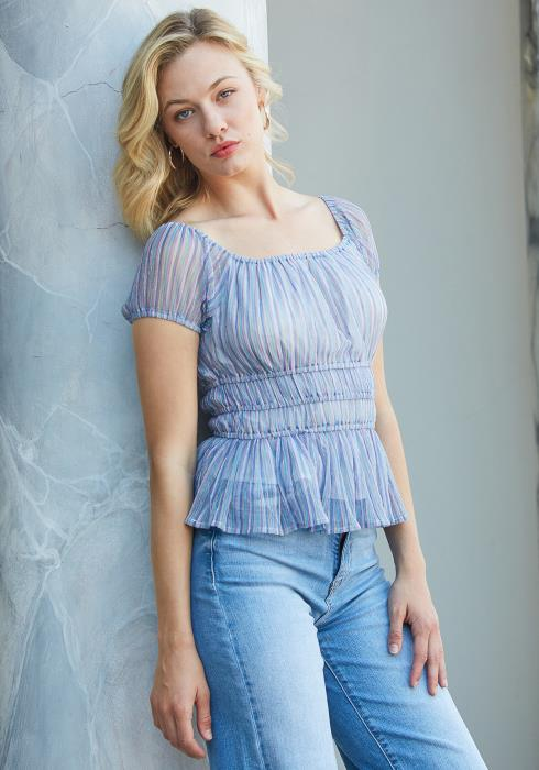 Tansy Multi Color Ribbed Peplum Top