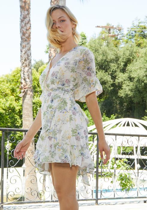 Tansy Floral Print Wrap Sun Dress