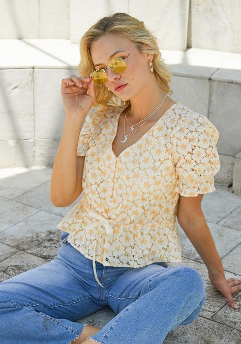 Tansy Floral Lace Peplum Top