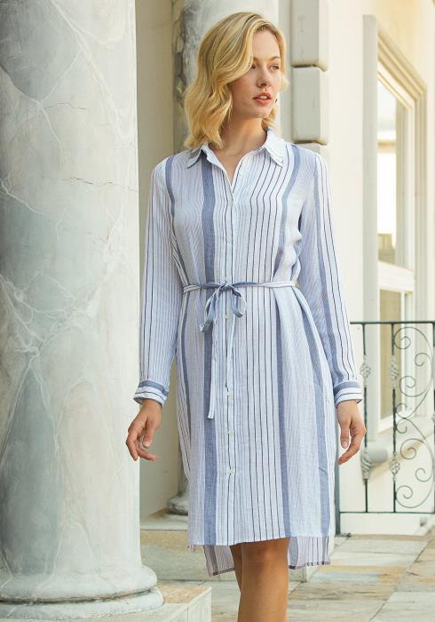 Tansy Multi Stripe Button Up Shirt Dress