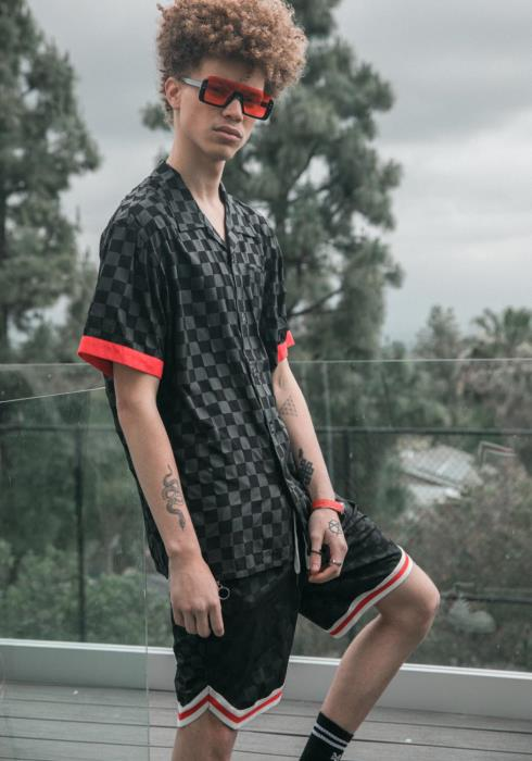 Konus Mens Checker Print Open Collar Shirt
