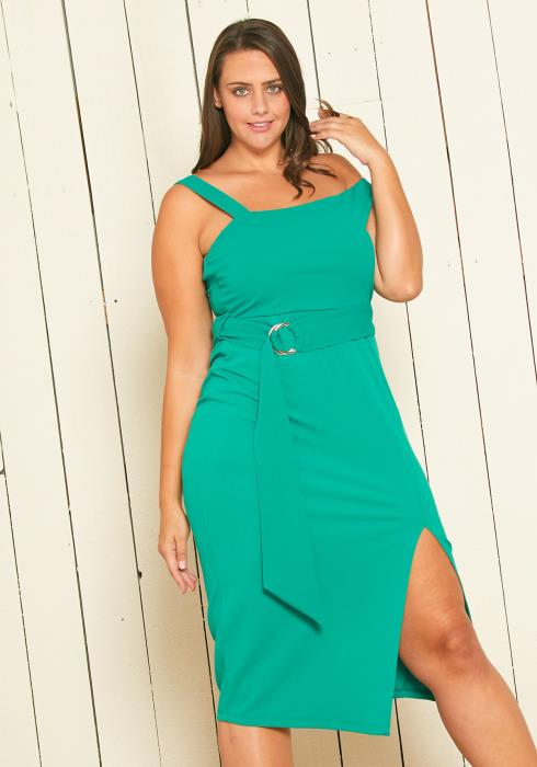 Asoph Plus Size Asymmetrical Belted Midi Dress