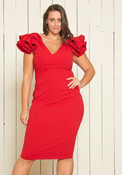 Asoph Plus Size Ruffle Shoulder Dress