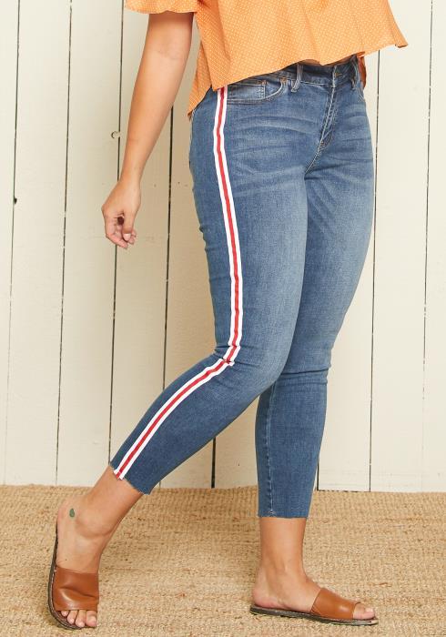 Asoph Plus Size Side Stripe Skinny Jean