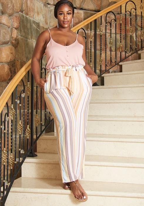 Asoph Plus Size Stripe Paperbag Pants