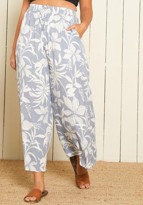Asoph Plus Size Floral Wide Leg Pants