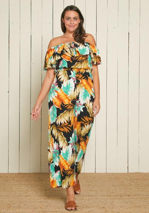 Asoph Plus Size Tropical Print Jumpsuit