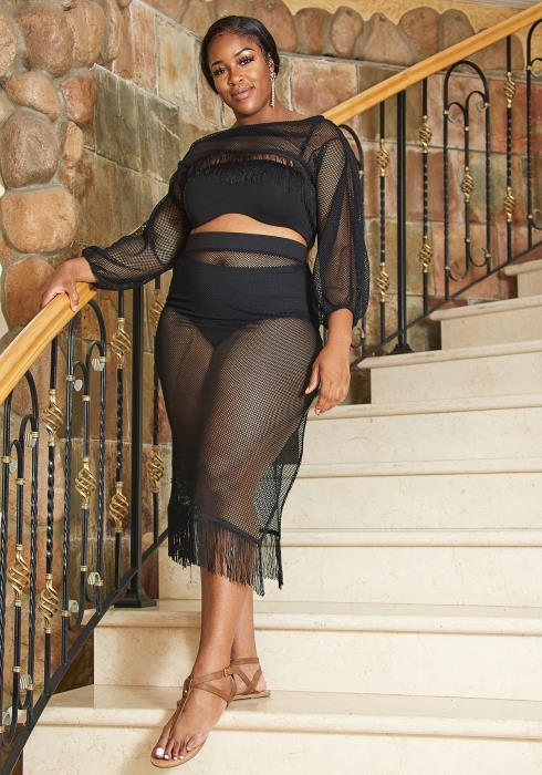 Asoph Plus Size Fishnet Crop Top & Midi Skirt Set