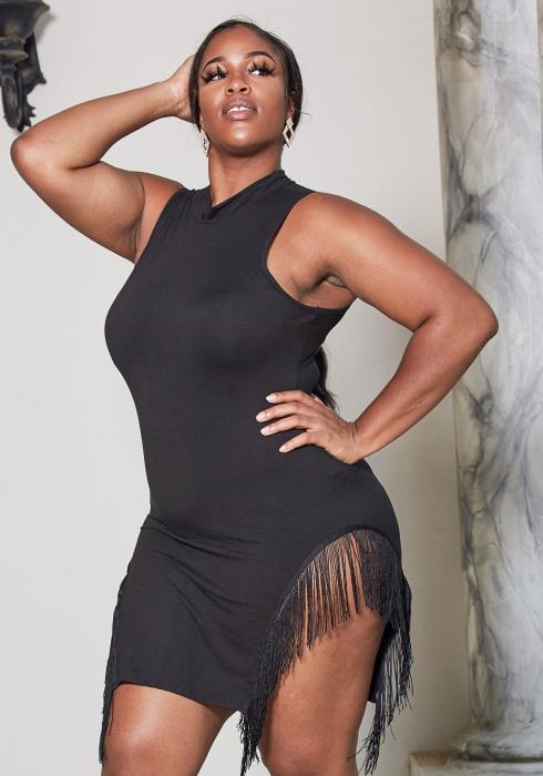 Asoph Plus Size Fringe Trim Party Dress