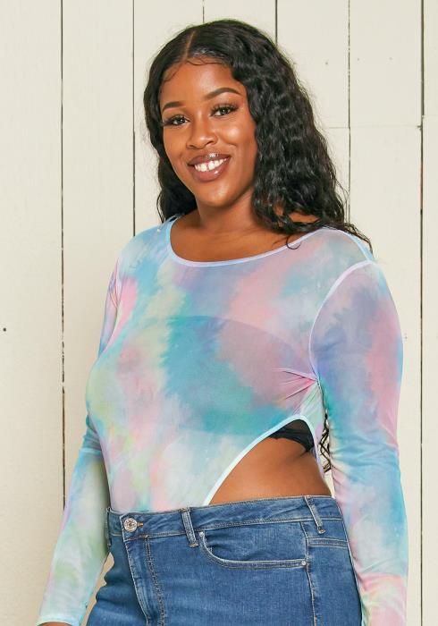 Asoph Plus Size Sheer Mesh Tie Dye Bodysuit