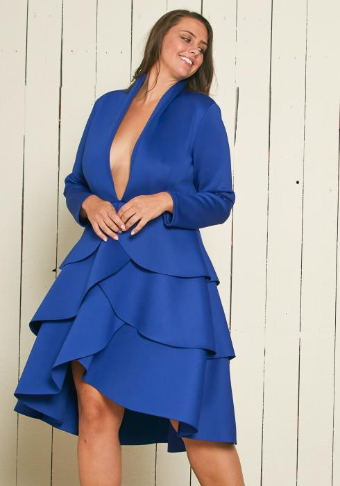 Asoph Plus Size Tiered Petal Flare Dress