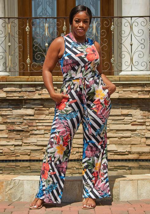 Asoph Plus Size Multi Print Jumpsuit