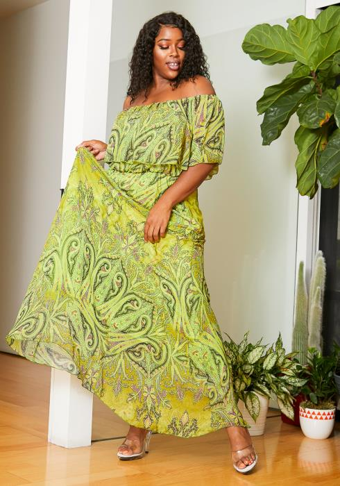 Asoph Plus Size Lucid Green Off Shoulder Womens Maxi Dress