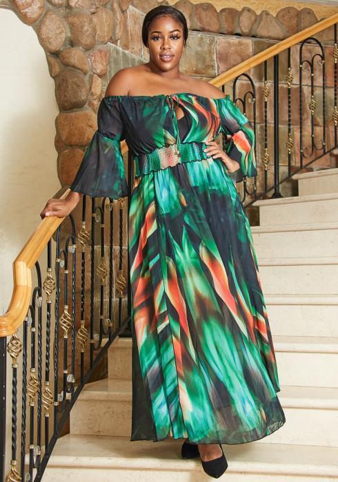 Asoph Plus Size Multi Color Off Shoulder Maxi Chiffon Dress