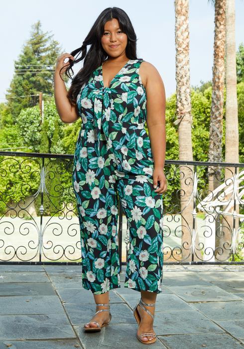 Asoph Plus Size Floral Tie Jumpsuit
