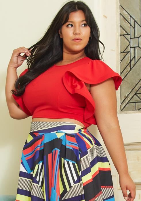 Asoph Plus Size Womens Ruffle Sleeve Cropped Blouse