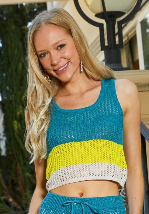 Tansy Crochet Color Block Crop Top