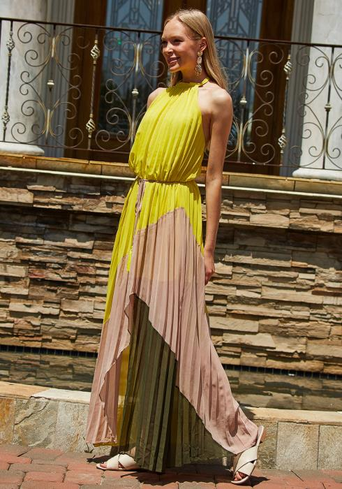 Tansy Color Block Pleated Halter Dress