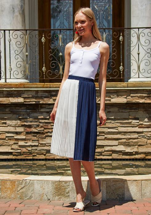 Tansy Color Block Pleated Midi Skirt
