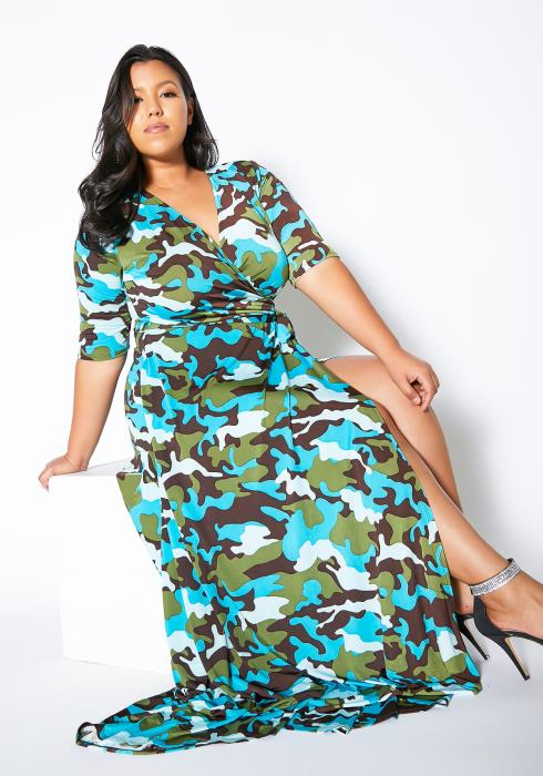 Asoph Pluis Size Camouflage Maxi Dress