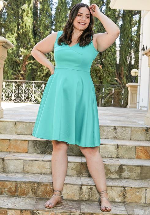 Plus Size Sleeveless Flare Mini Dress