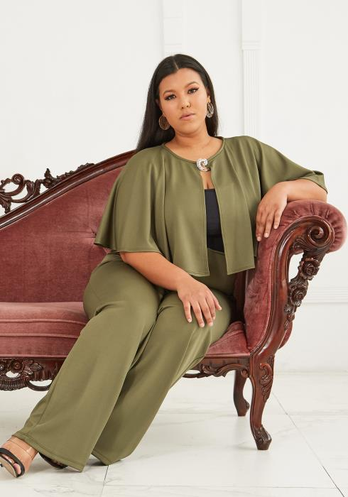 Plus Size Cape Top & High Waist Pants Set