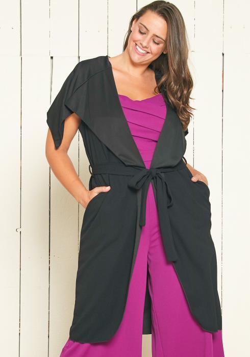 Asoph Plus Size Oversized Collar Vest