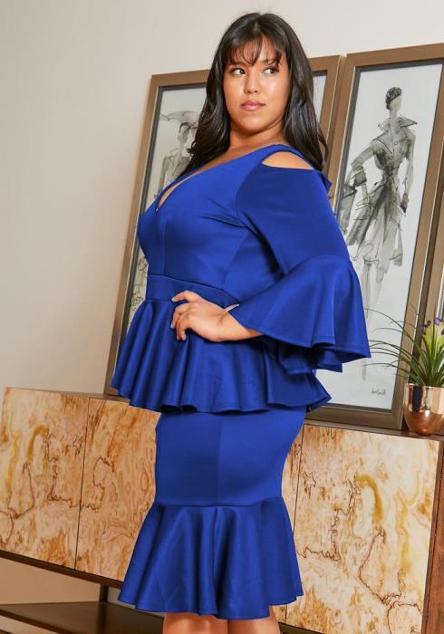 Asoph Plus Size Peplum Party Dress