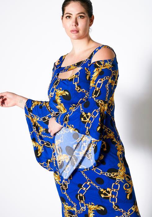 Asoph Plus Size Anchor Chain Print Maxi Evening Party Dress