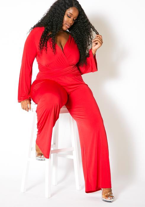 Asoph Curvy Womens Waist Wrap Surplice Jumpsuit