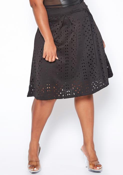 Asoph Plus Size Lace Cutout Skirt