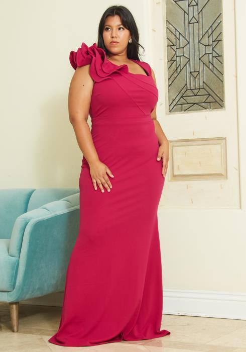 Asoph Plus Size Tiered Ruffle Shoulder Evening Gown