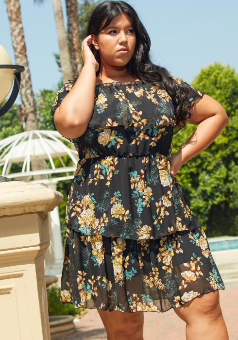 Asoph Plus Size Layered Ruffle Chiffon Dress