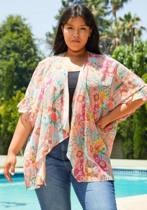 Asoph Plus Size Floral Cardigan