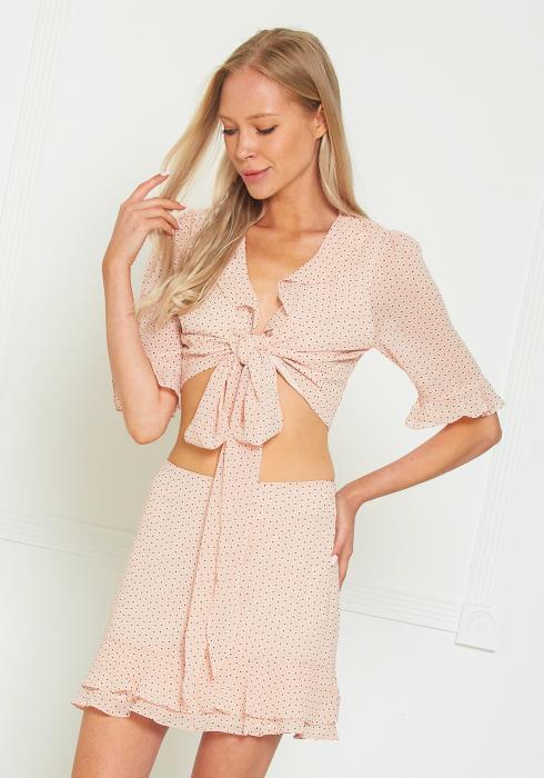 Tansy Polkadot Crop Top Blouse & Skirt Set