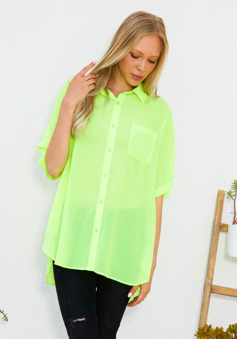 Tansy Neon Button Up Blouse