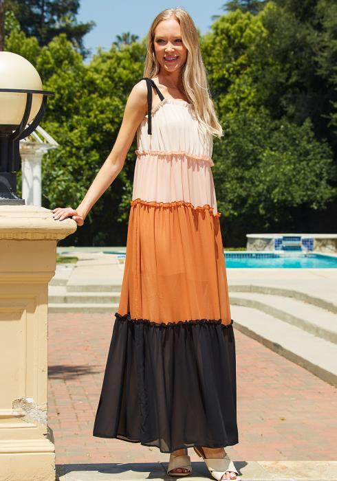 Tansy Color Block Ruffle Maxi Dress